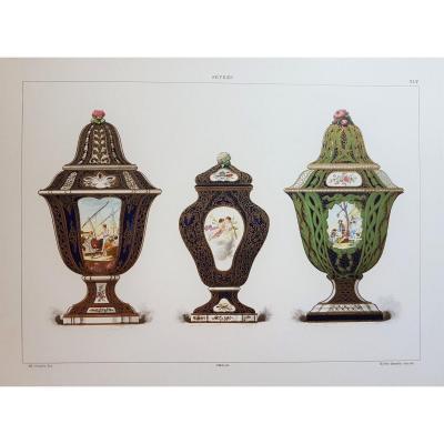 Ed. Garnier, chromo lithographie, 1892. Vases lapis et or.