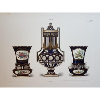 Ed. Garnier, Chromo Lithography, 1892. Bleu Nouveau And Gilded Vases.