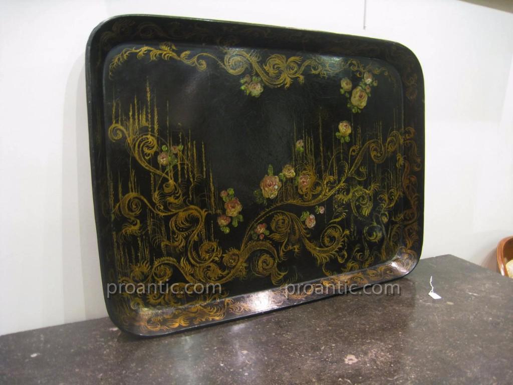 grand plateau en papier m ch epoque napol on iii plateaux vide poches. Black Bedroom Furniture Sets. Home Design Ideas