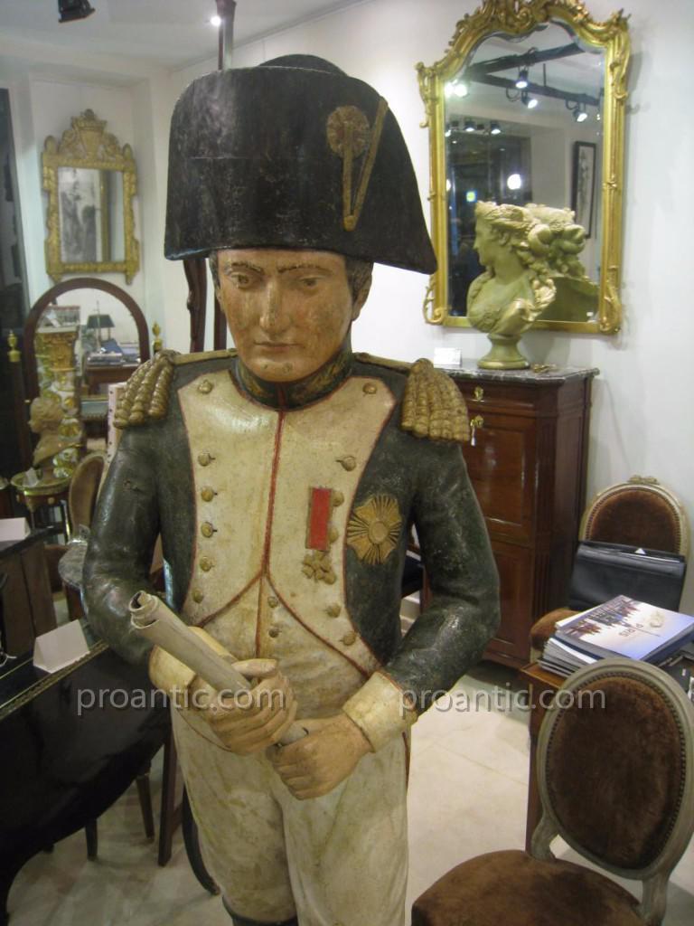 Grande Statue Napoléon 1er En Bois Sculpté Polychrome XIX ème