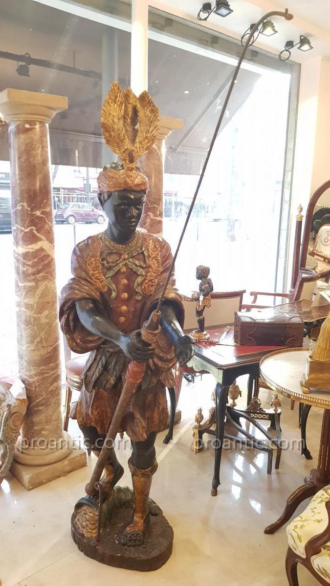 Nubien En Bois Sculpté  Polychrome  Italie Fin XVIII ème