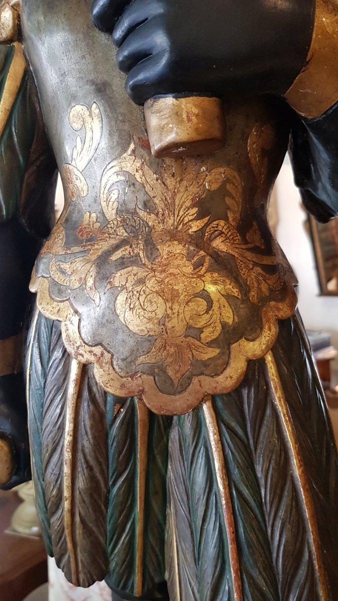 Paire De Nubiens En Bois Sculpté Polychrome  Italie XIX ème