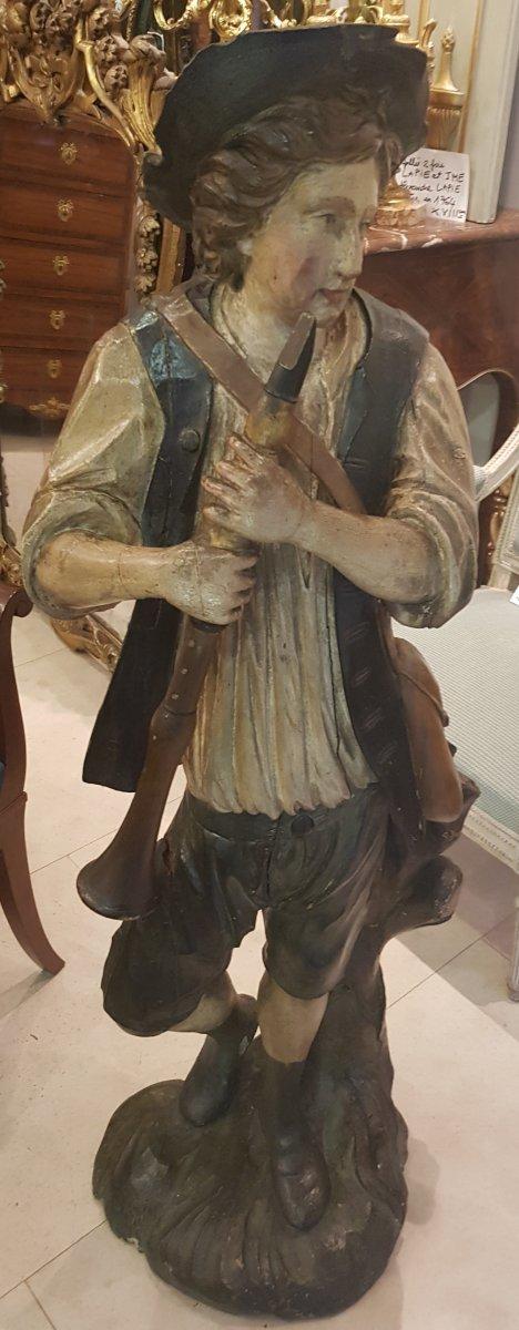 """Statue """"Le Joueur De Flûte"""" En Bois Sculpté  Polychrome XVIII ème-photo-2"""