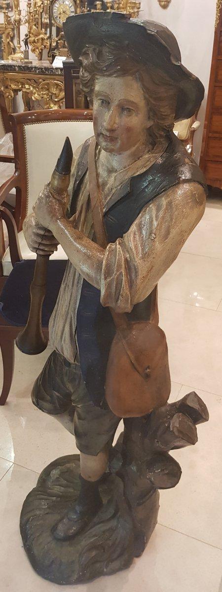 """Statue """"Le Joueur De Flûte"""" En Bois Sculpté  Polychrome XVIII ème-photo-4"""