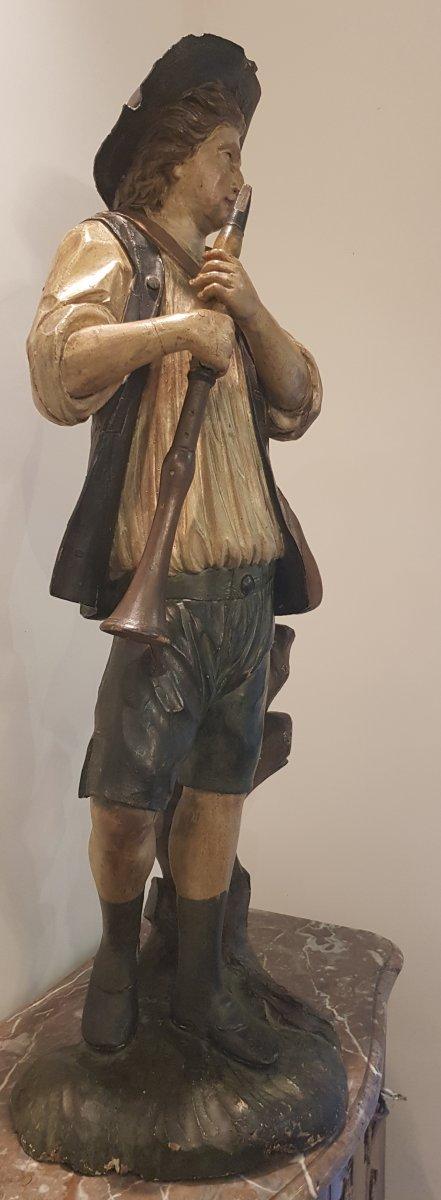 """Statue """"Le Joueur De Flûte"""" En Bois Sculpté  Polychrome XVIII ème-photo-5"""