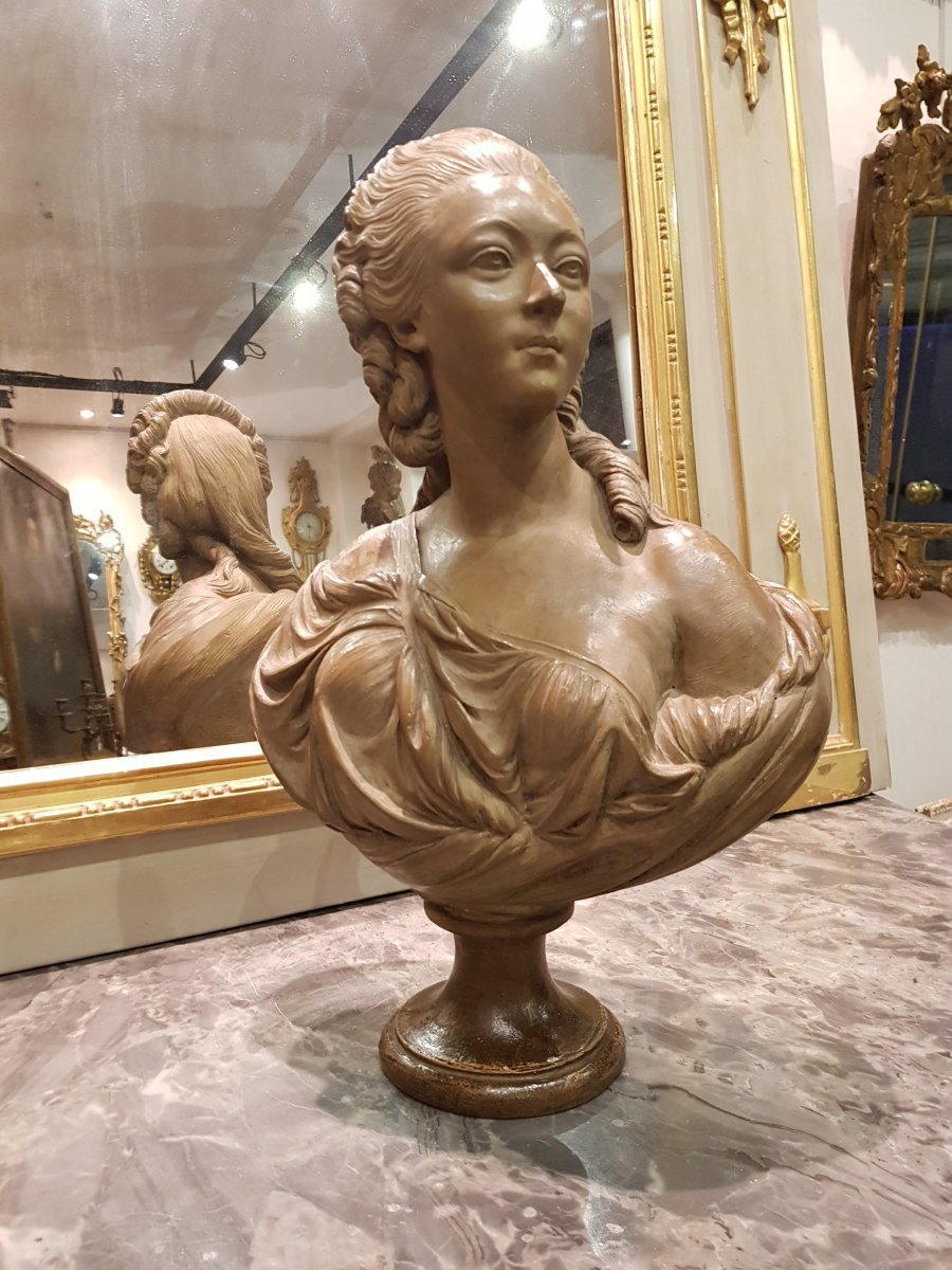 Buste En Terre Cuite De Madame Du Barry d'Après Augustin Pajou XIX ème