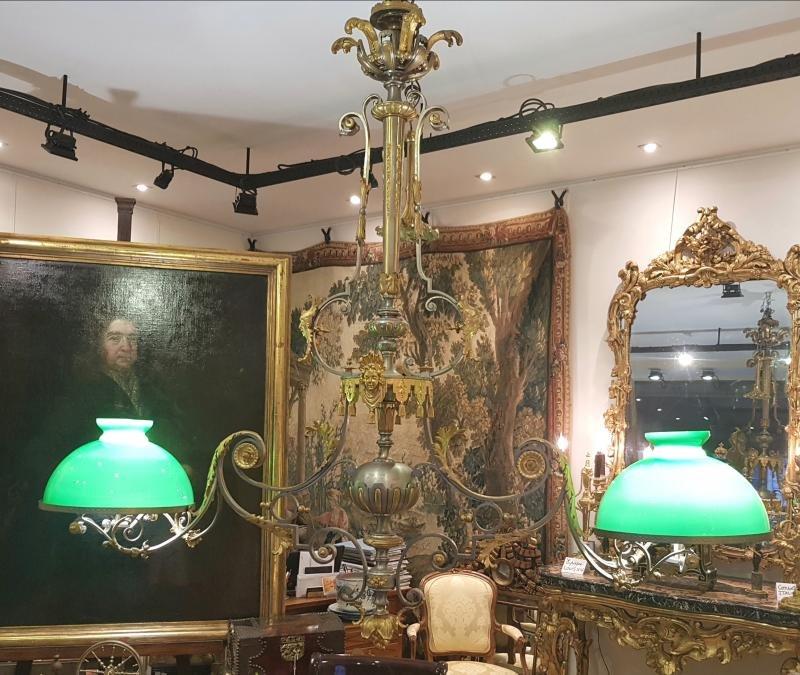 Importante Suspension De Billard  En  Bronze  Attribuée à Barbedienne  Epoque Napoléon III