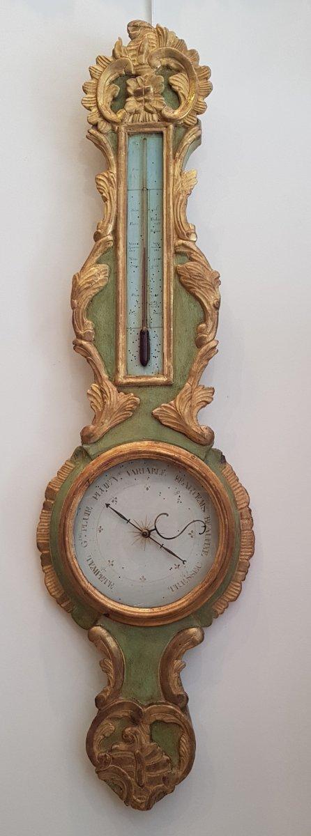 Baromètre Thermomètre d'Epoque Transition Louis XV / Louis XVI  XVIII ème