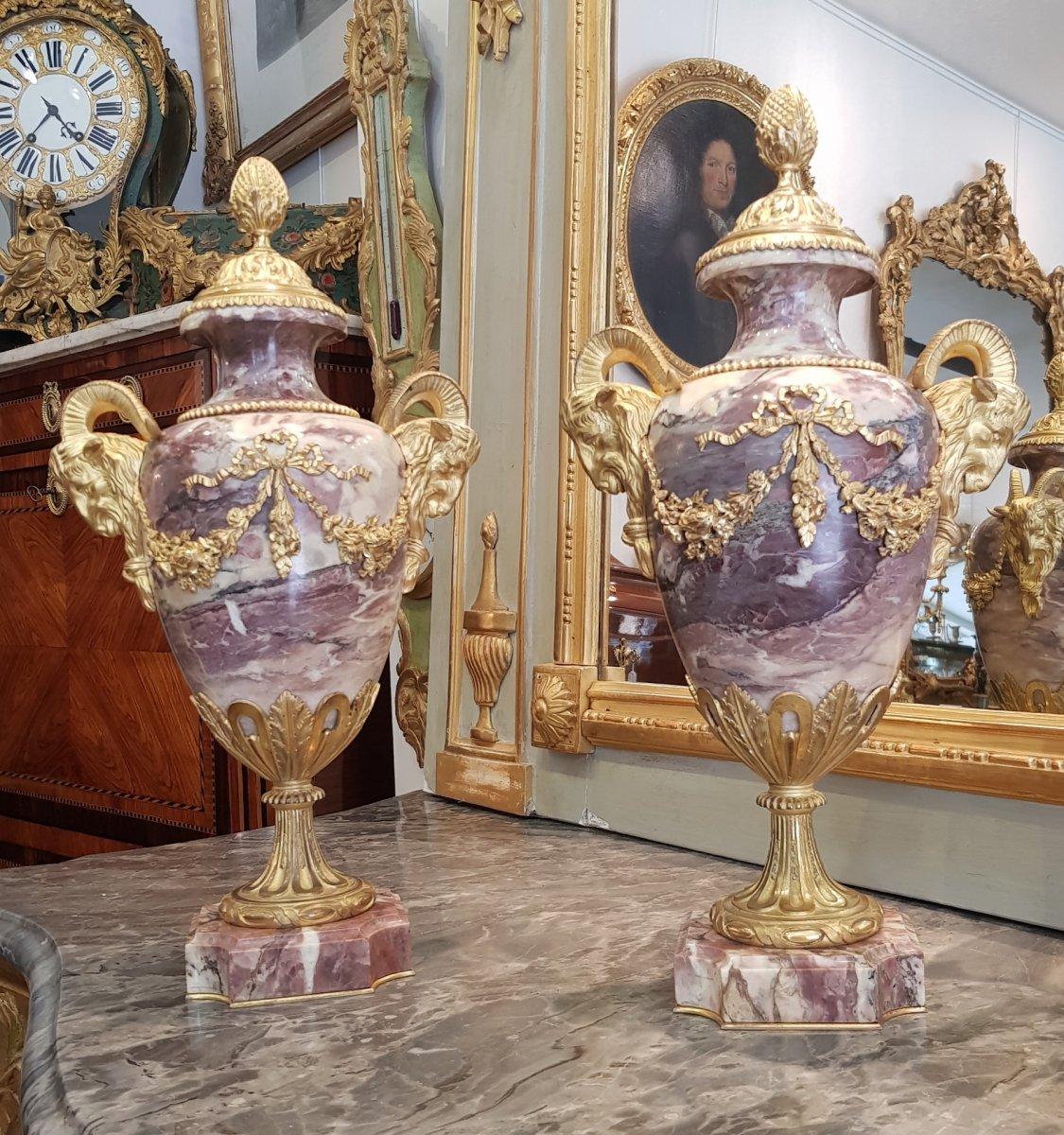 Paire De Cassolettes En Marbre Fleur De Pêcher Epoque Napoléon III  XIX ème