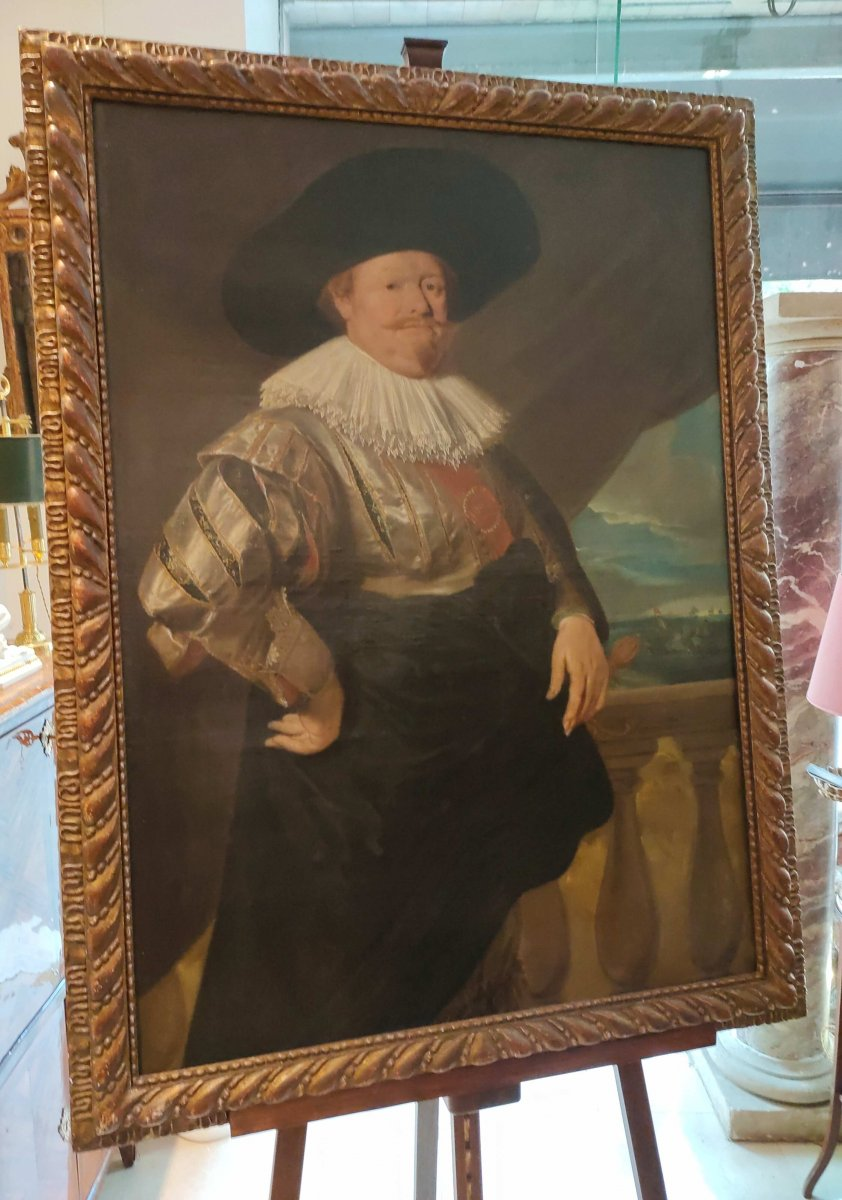 """Ecole Hollandaise Du XVII ème """"Portrait d'Amiral"""" Par Le Suiveur Frans Hals"""