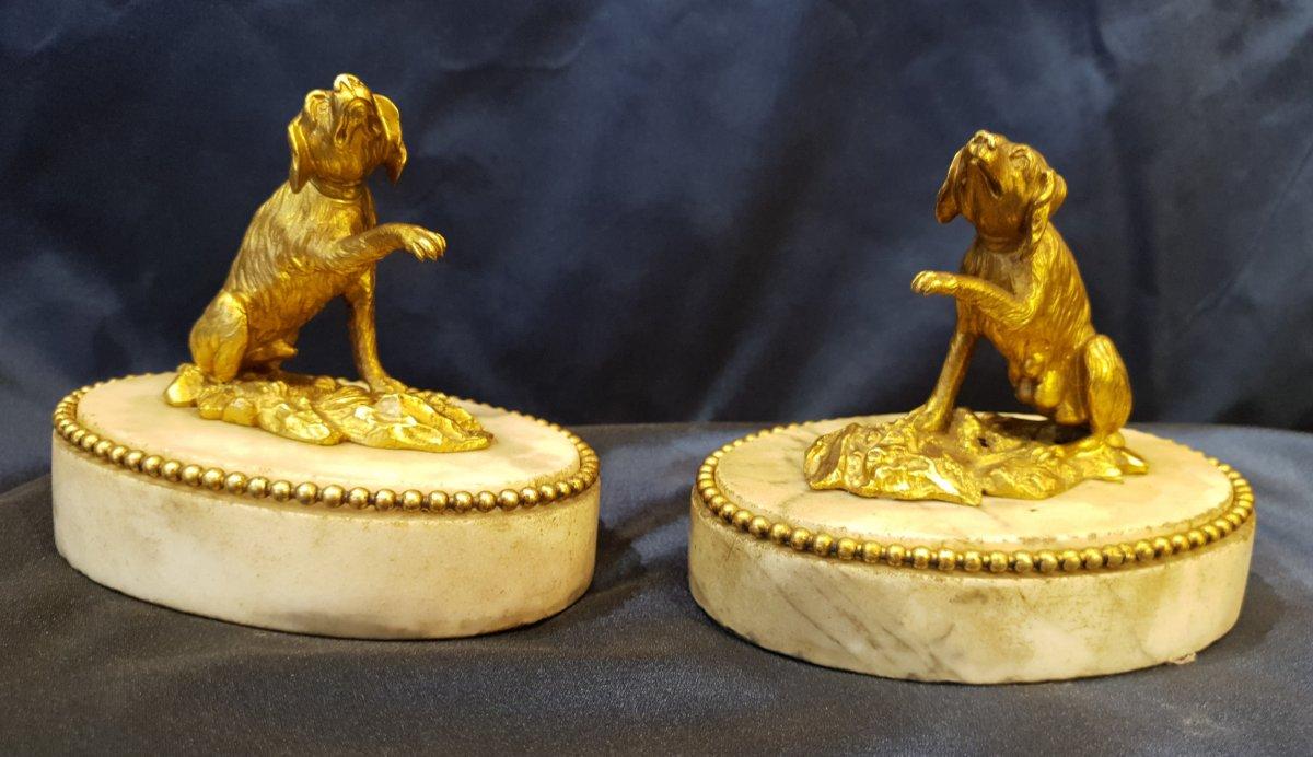 Paire De Presse Papiers En Bronze Doré D'epoque Louis XVI XVIII ème-photo-2