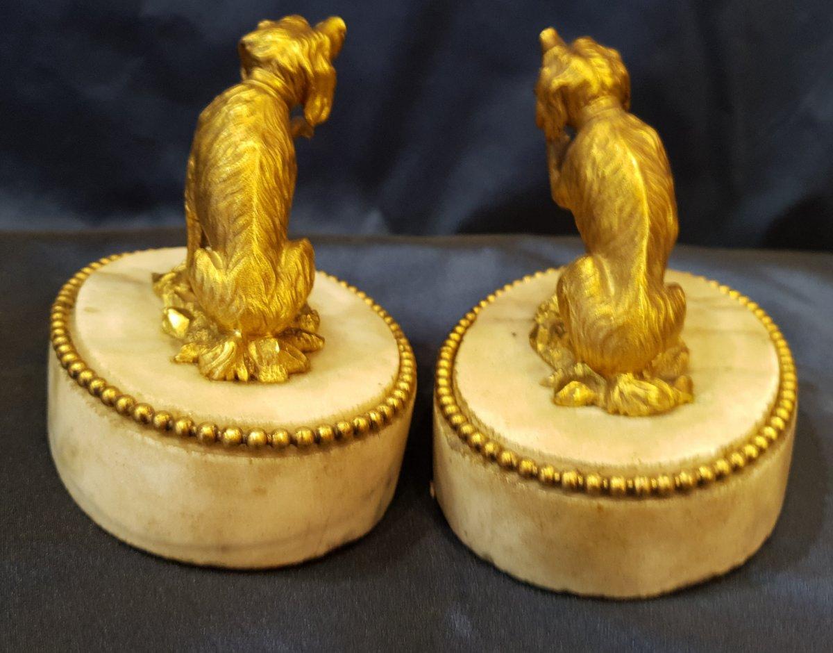 Paire De Presse Papiers En Bronze Doré D'epoque Louis XVI XVIII ème-photo-4