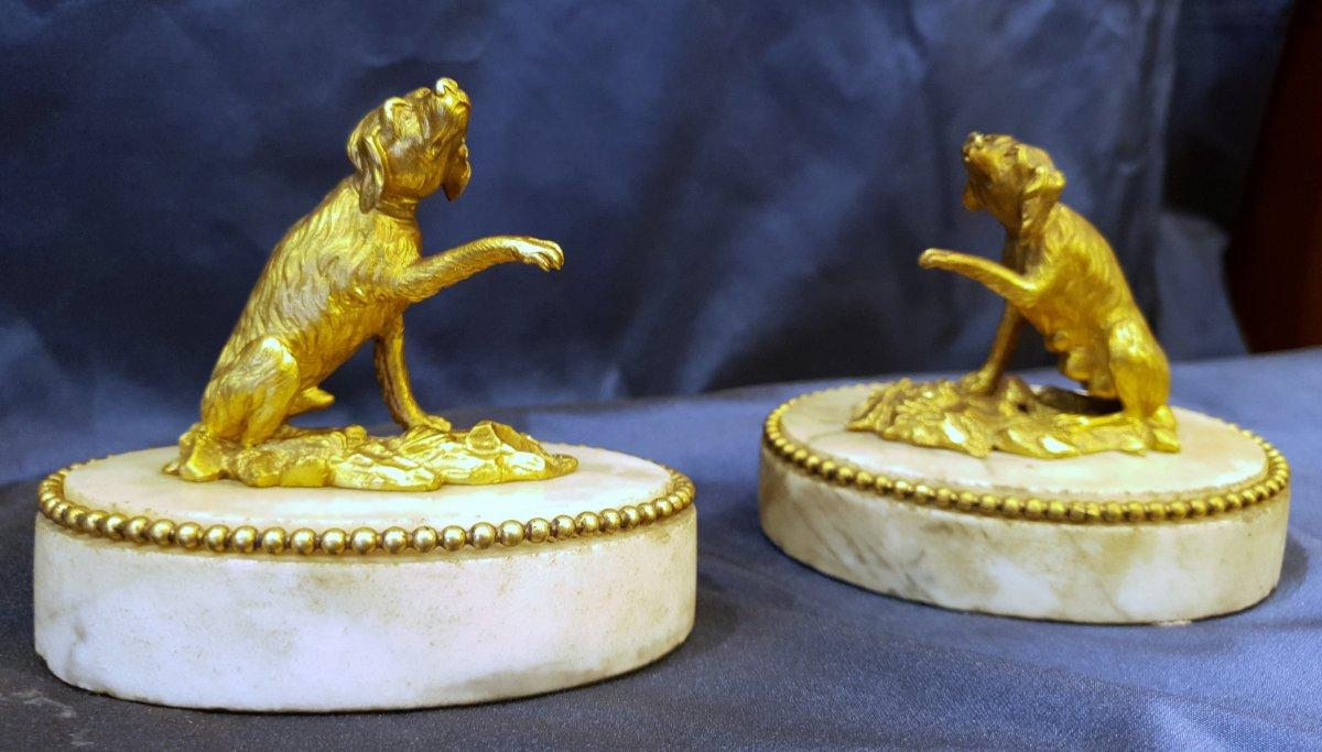 Paire De Presse Papiers En Bronze Doré D'epoque Louis XVI XVIII ème
