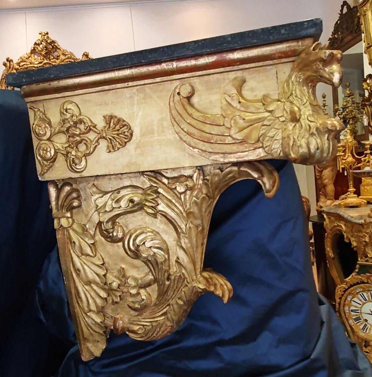 Console d'Applique En Bois Sculpté Doré Début XIX ème