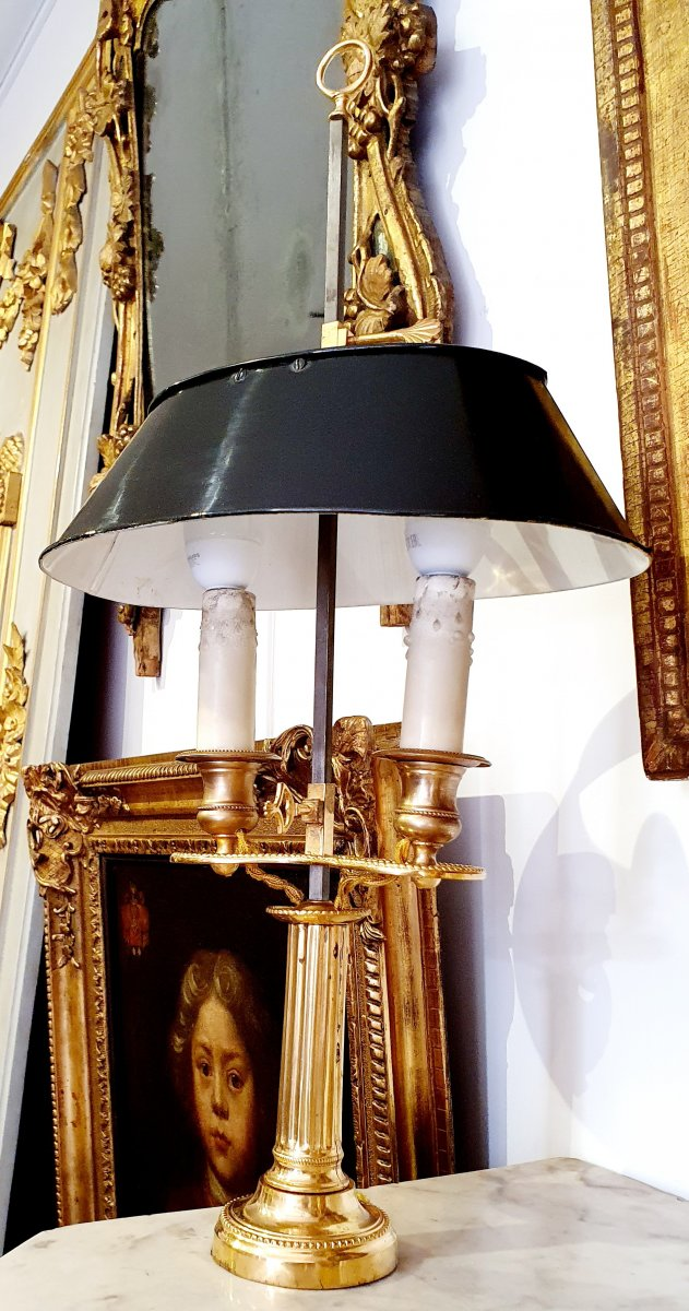 Lampe Bouillotte En Bronze Doré De Style Louis XVI XIXème
