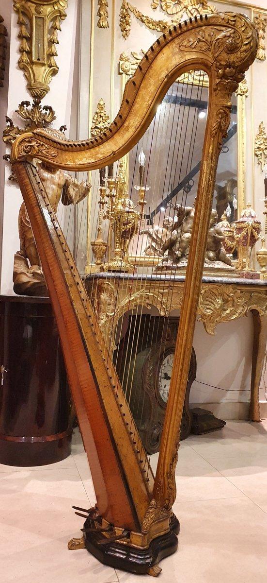 Harpe En Bois Sculpté Et Doré d'Epoque Louis XVI XVIII ème