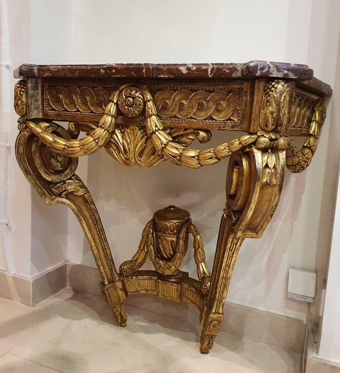 Console En Chêne Sculpté Et Doré Epoque Louis XVI XVIII ème