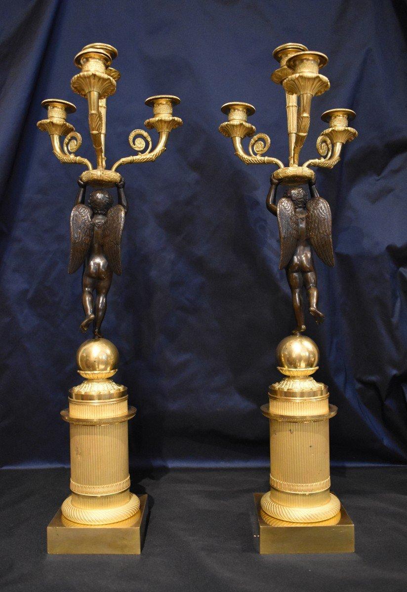 """Paire De Candélabres """"Aux Amours Ailés"""" En Bronze Doré Attribués A Pierre Thomire Epoque Empire-photo-3"""