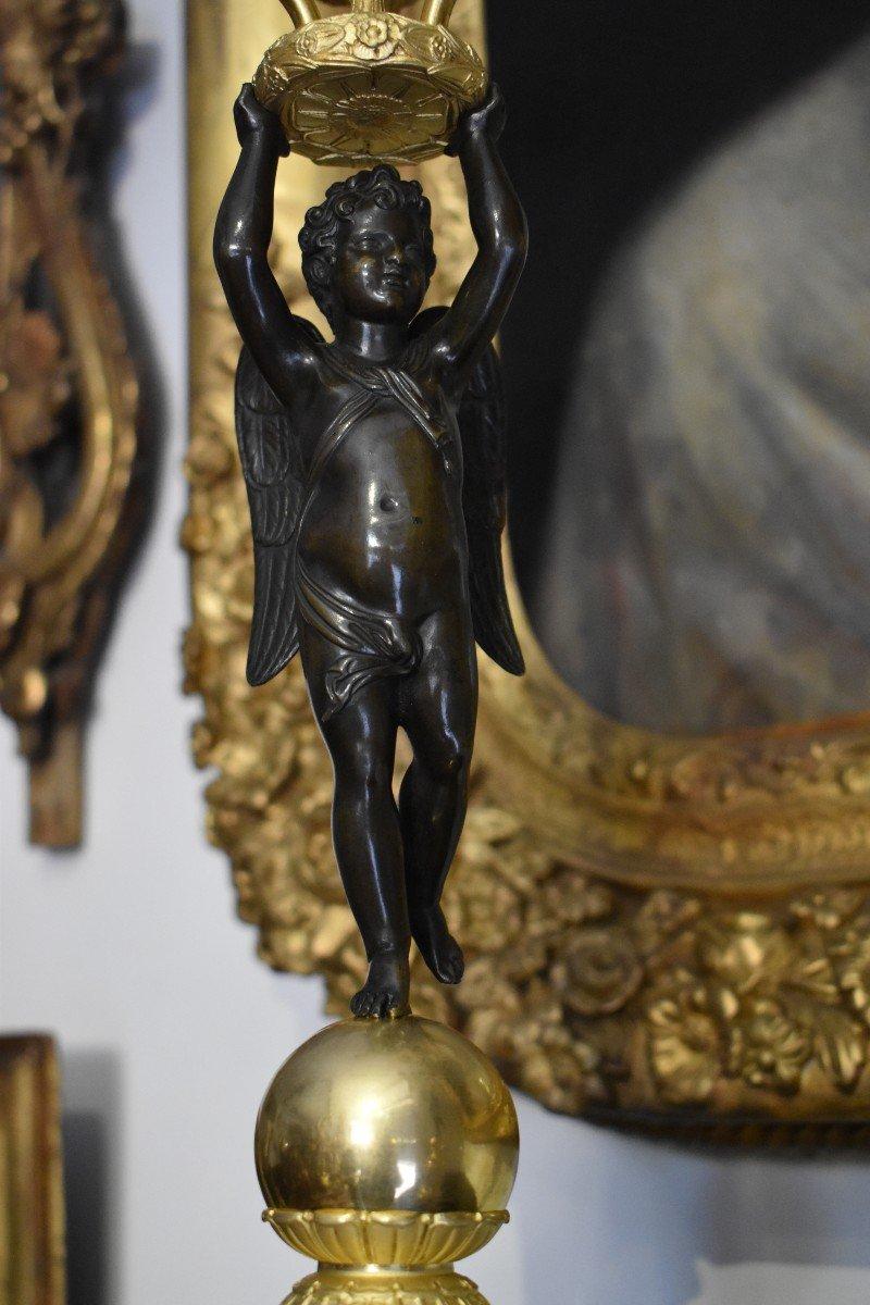 """Paire De Candélabres """"Aux Amours Ailés"""" En Bronze Doré Attribués A Pierre Thomire Epoque Empire-photo-4"""