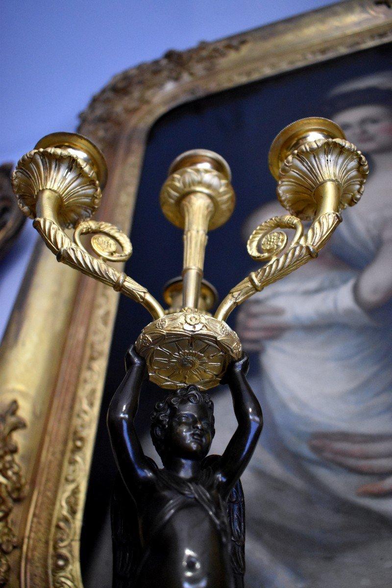 """Paire De Candélabres """"Aux Amours Ailés"""" En Bronze Doré Attribués A Pierre Thomire Epoque Empire-photo-5"""
