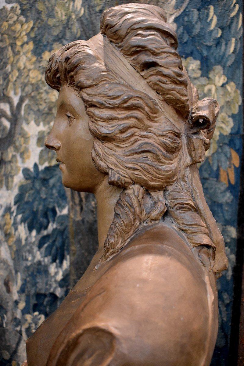 Buste De Jeune Fille En Terre Cuite d'Après Gois Epoque Napoléon III XIX ème -photo-1