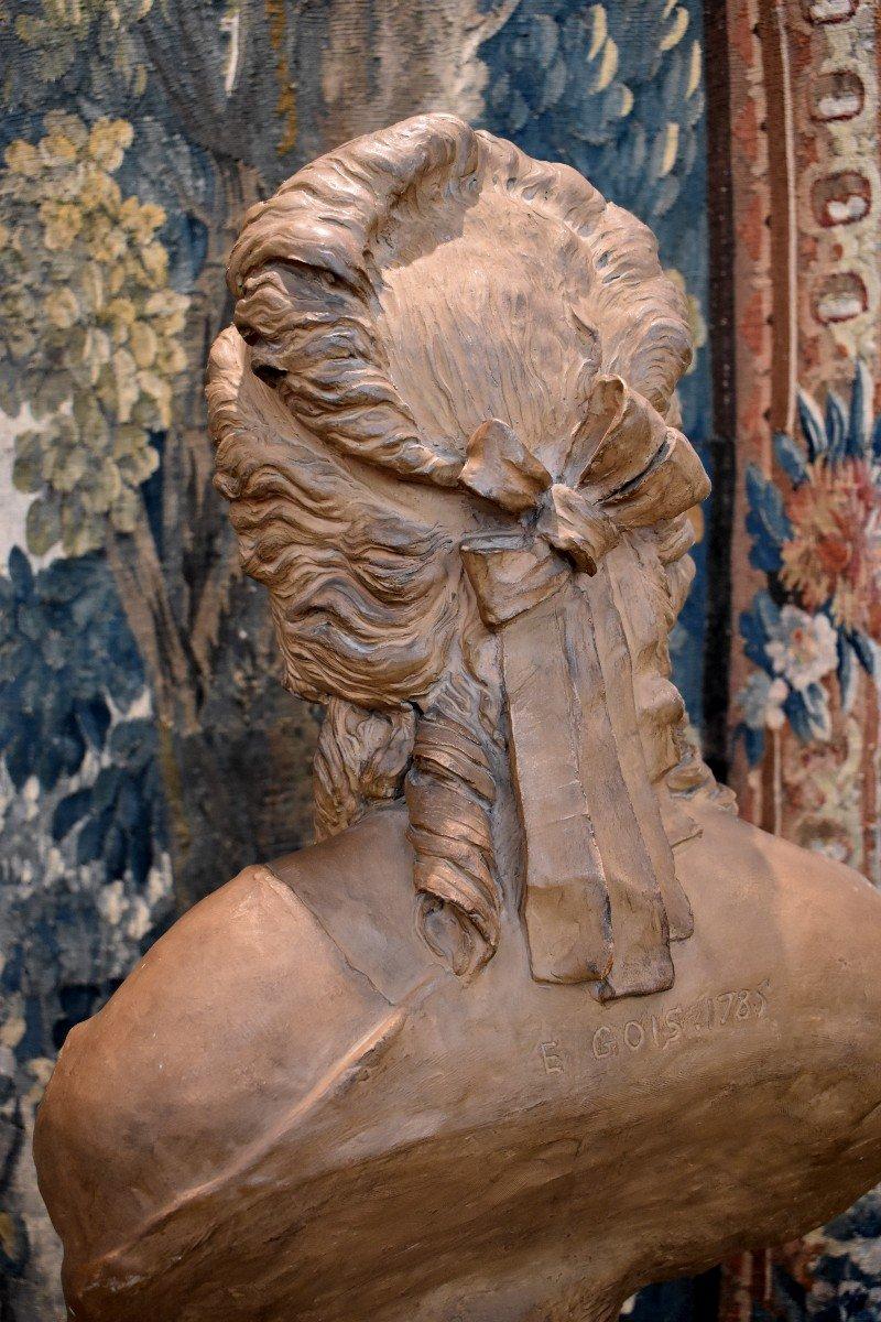 Buste De Jeune Fille En Terre Cuite d'Après Gois Epoque Napoléon III XIX ème -photo-2