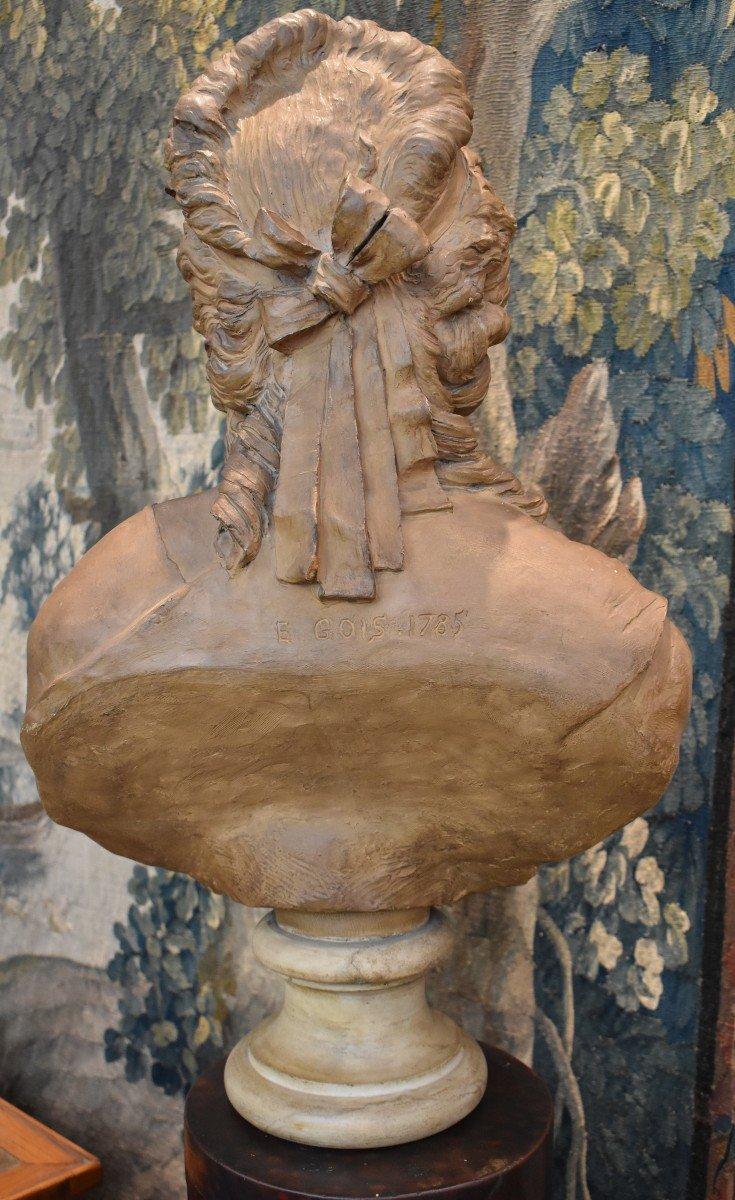 Buste De Jeune Fille En Terre Cuite d'Après Gois Epoque Napoléon III XIX ème -photo-4