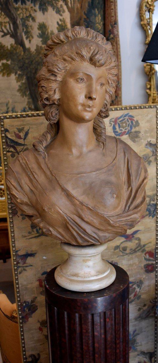Buste De Jeune Fille En Terre Cuite d'Après Gois Epoque Napoléon III XIX ème -photo-5