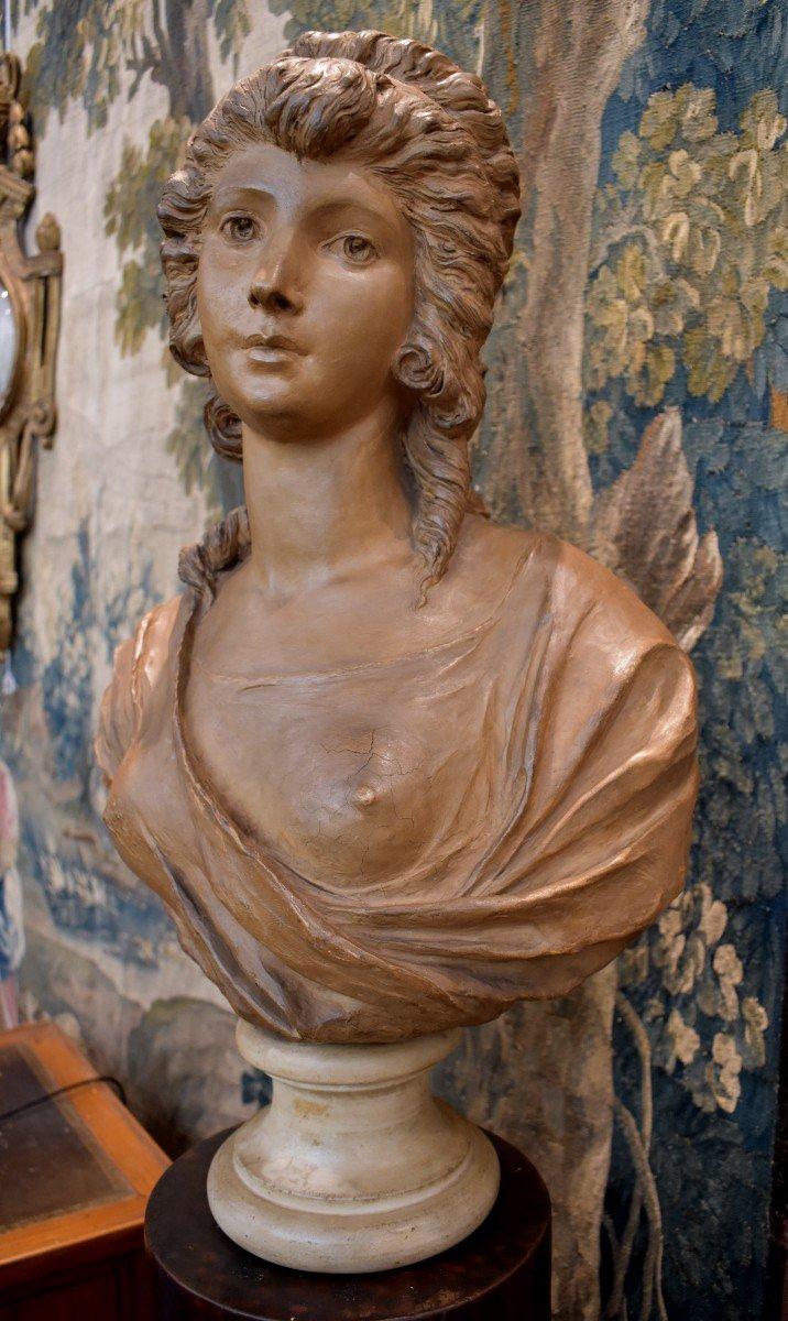 Buste De Jeune Fille En Terre Cuite d'Après Gois Epoque Napoléon III XIX ème
