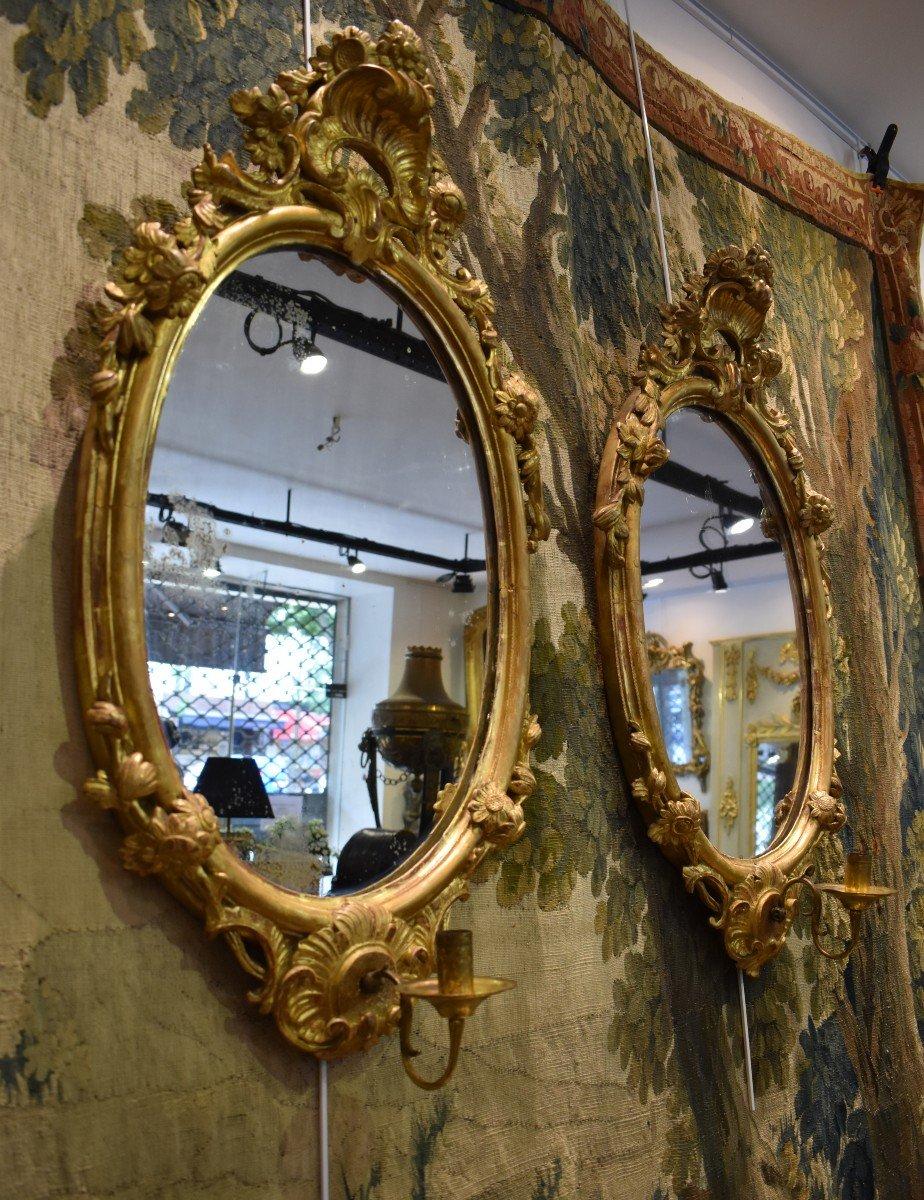Paire De Miroirs Réflecteurs En Bois Sculpté Et Doré Italie Fin XVIII ème-photo-2