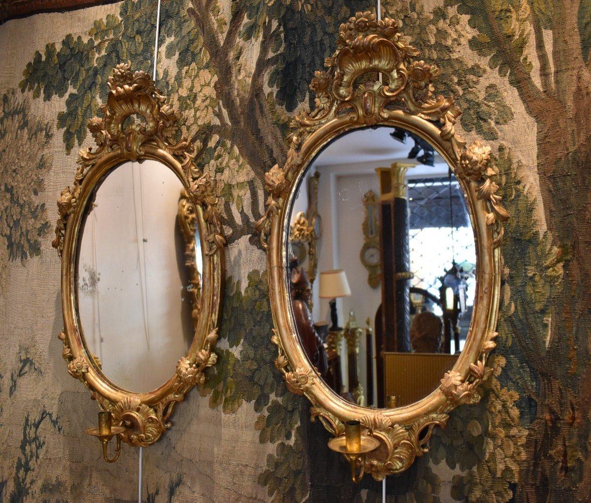 Paire De Miroirs Réflecteurs En Bois Sculpté Et Doré Italie Fin XVIII ème-photo-3