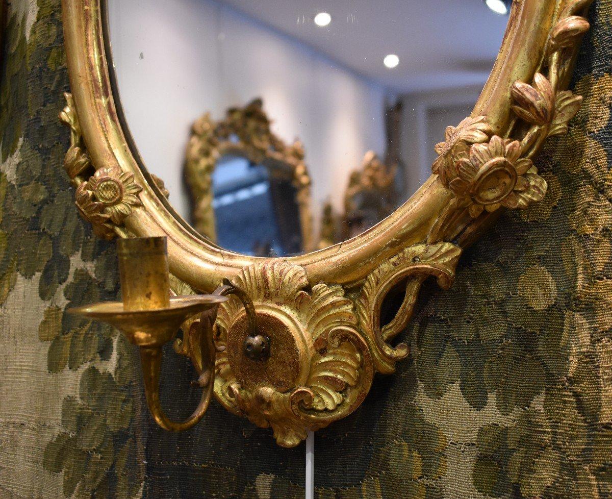 Paire De Miroirs Réflecteurs En Bois Sculpté Et Doré Italie Fin XVIII ème-photo-1