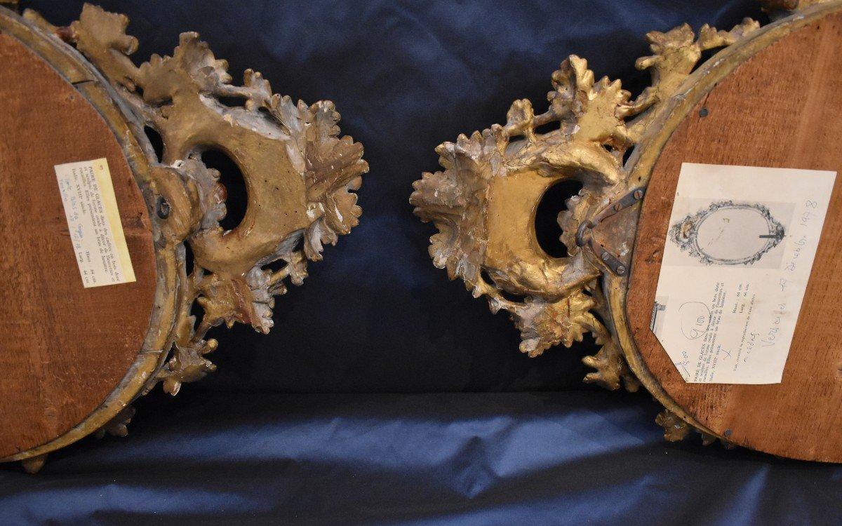 Paire De Miroirs Réflecteurs En Bois Sculpté Et Doré Italie Fin XVIII ème-photo-4