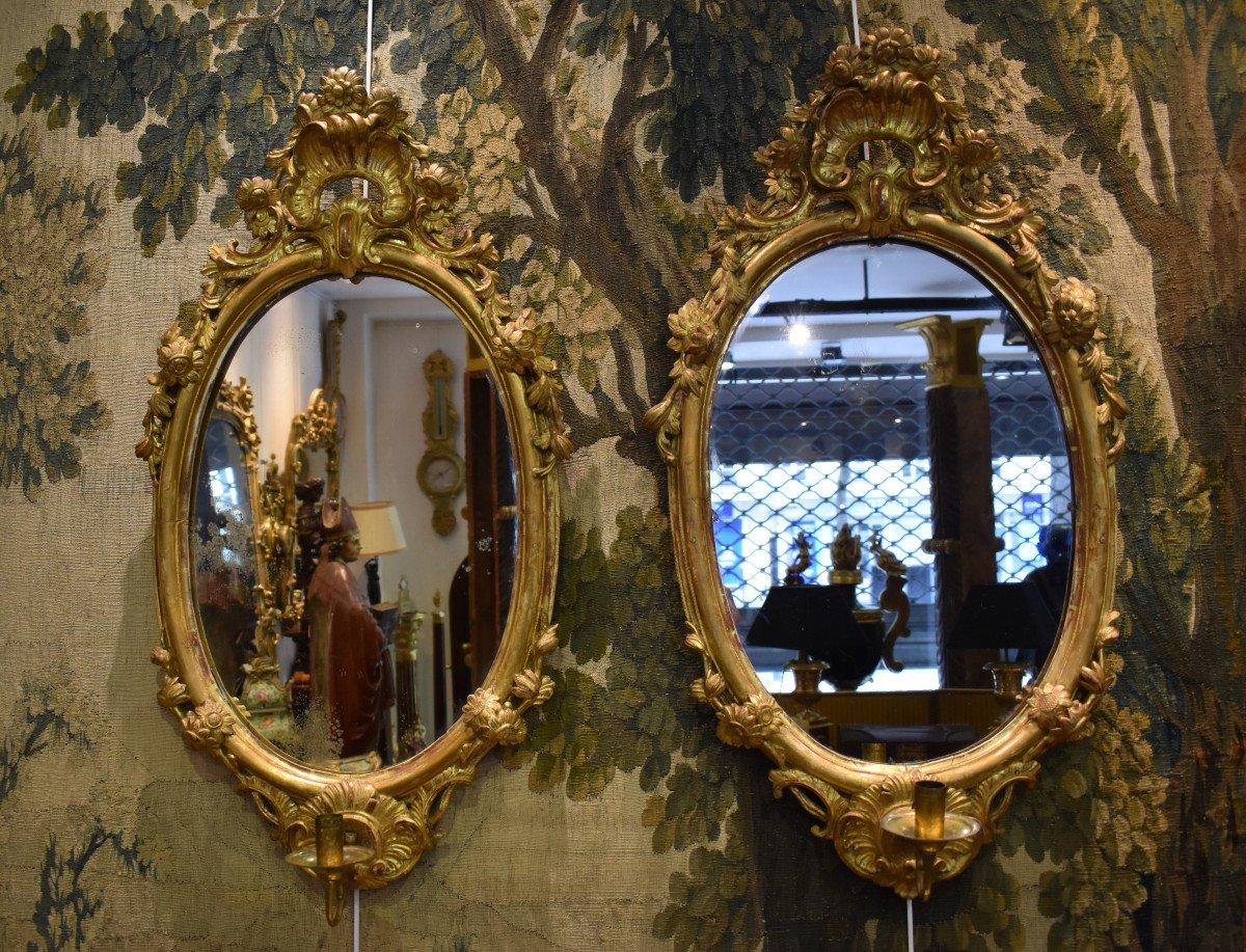 Paire De Miroirs Réflecteurs En Bois Sculpté Et Doré Italie Fin XVIII ème