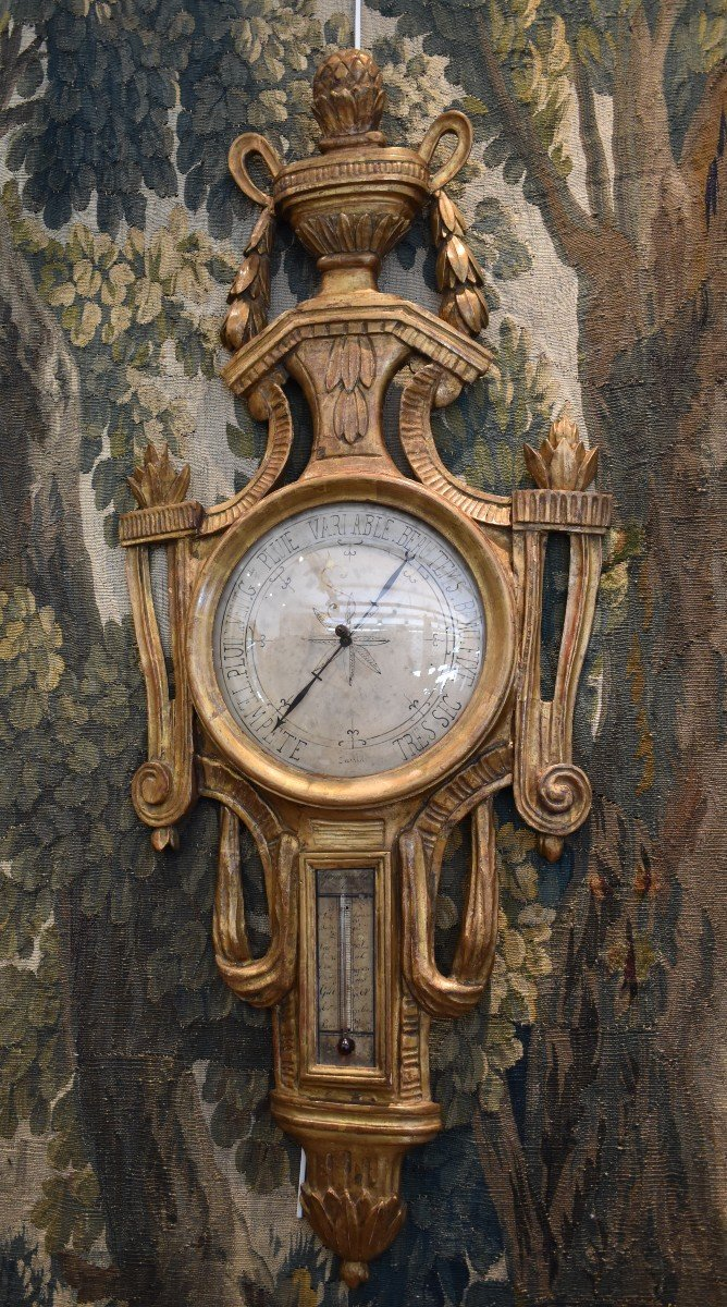 Baromètre Thermomètre En Bois Sculpté Epoque Louis XVI XVIII ème-photo-2
