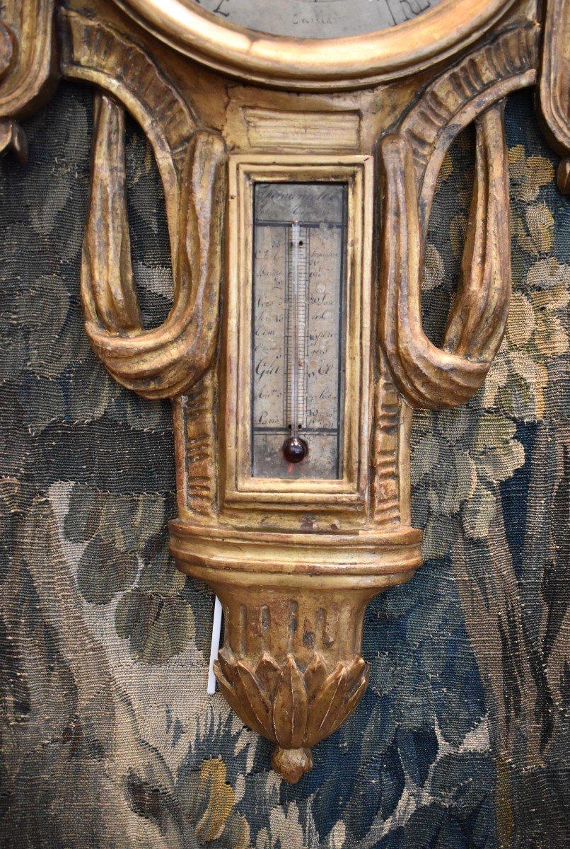 Baromètre Thermomètre En Bois Sculpté Epoque Louis XVI XVIII ème-photo-4