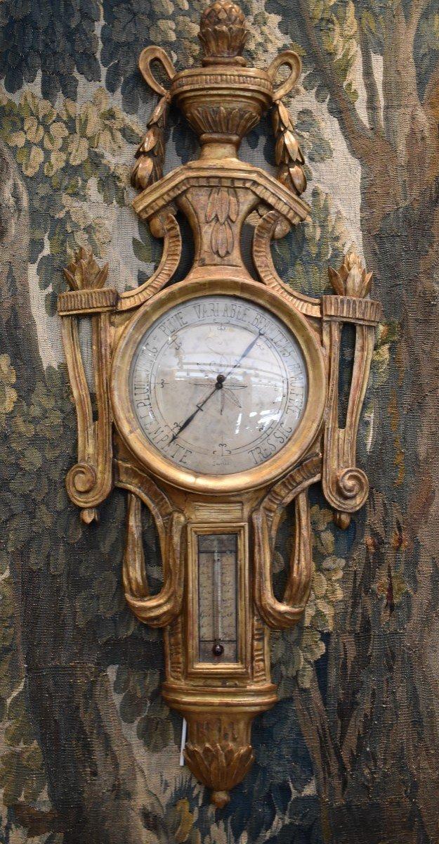Baromètre Thermomètre En Bois Sculpté Epoque Louis XVI XVIII ème