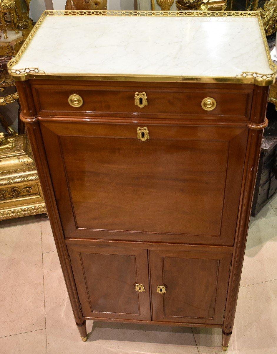 Secrétaire De Dame En Acajou Estampillé J.A.LECLERE Epoque Louis XVI XVIII ème-photo-5