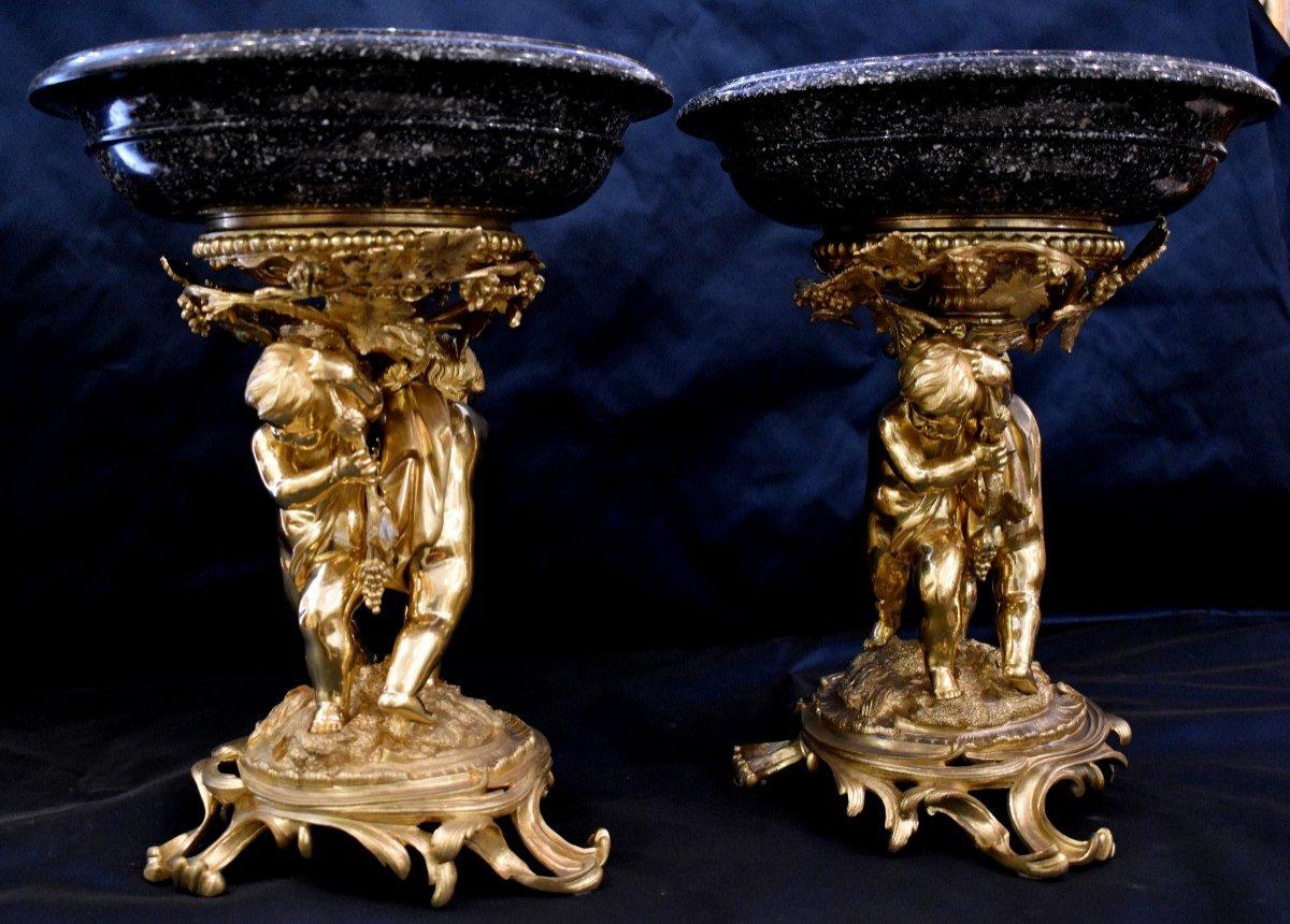 Paire De Grandes Vasques En Porphyre Et Bronze Doré Epoque Napoléon III  XIX ème-photo-3