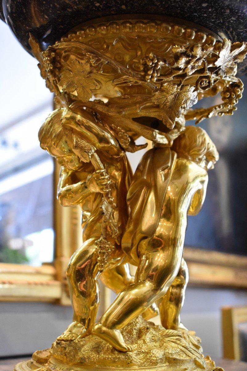 Paire De Grandes Vasques En Porphyre Et Bronze Doré Epoque Napoléon III  XIX ème-photo-2