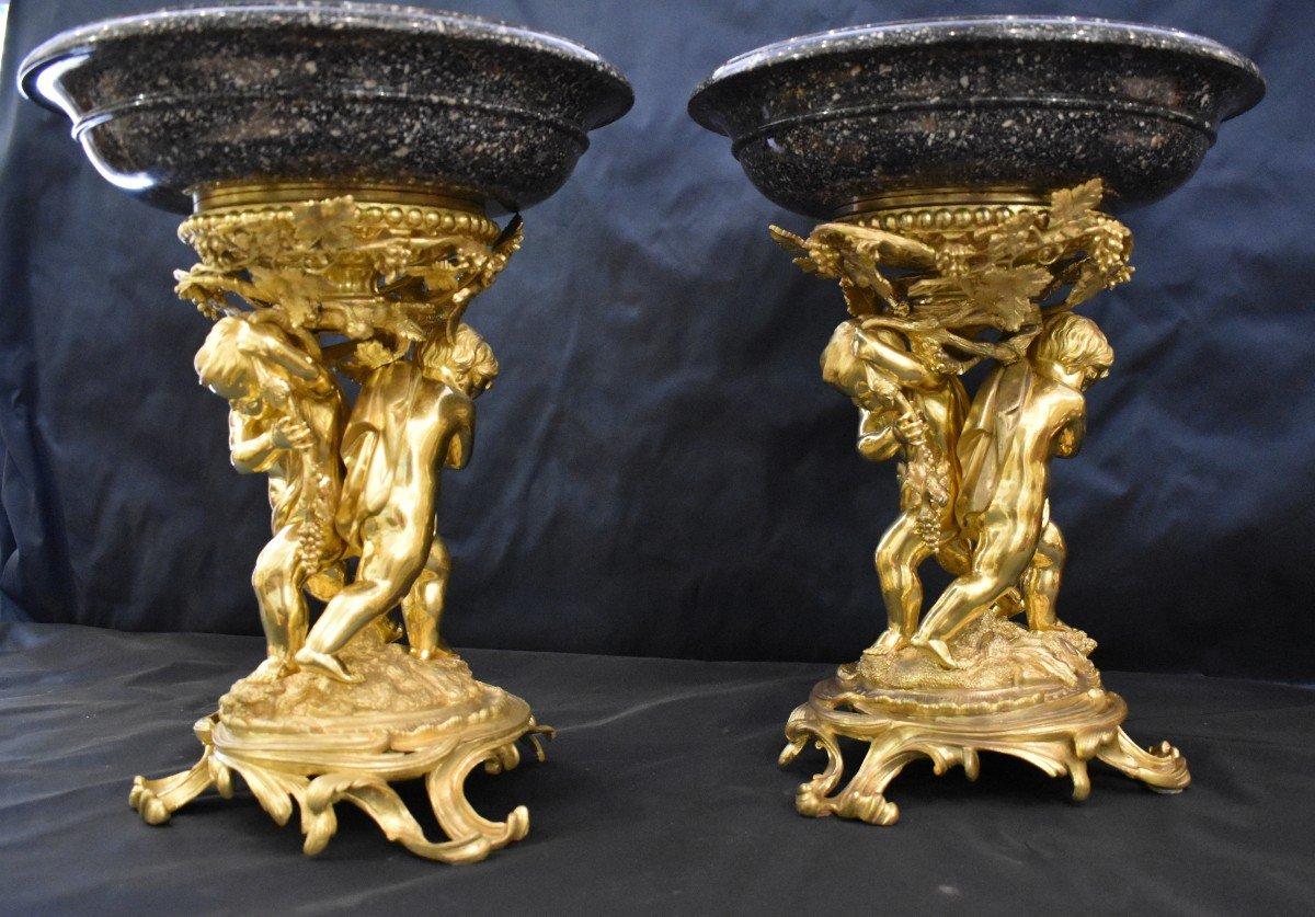 Paire De Grandes Vasques En Porphyre Et Bronze Doré Epoque Napoléon III  XIX ème-photo-4