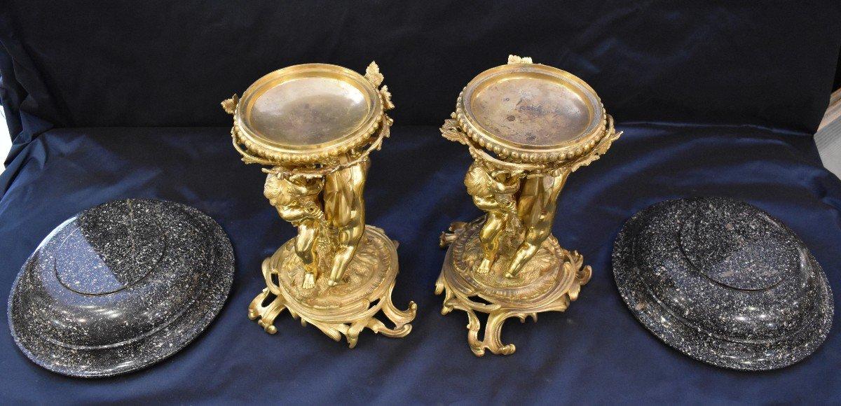 Paire De Grandes Vasques En Porphyre Et Bronze Doré Epoque Napoléon III  XIX ème-photo-6