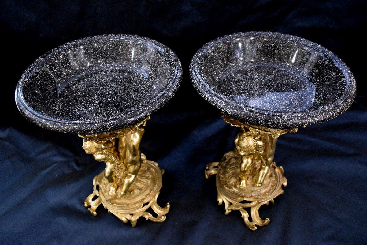 Paire De Grandes Vasques En Porphyre Et Bronze Doré Epoque Napoléon III  XIX ème-photo-7