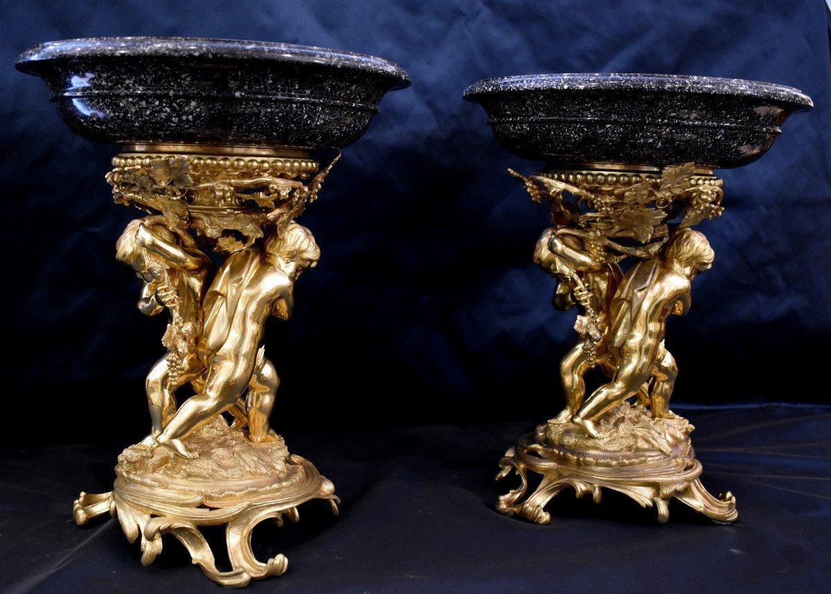 Paire De Grandes Vasques En Porphyre Et Bronze Doré Epoque Napoléon III  XIX ème