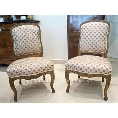 Pair Of Carved Walnut Chairs Regency Period