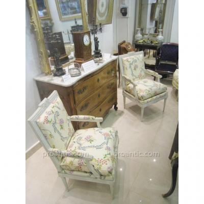 Pair Of Louis XVI Armchairs Stamped Pierre Remy