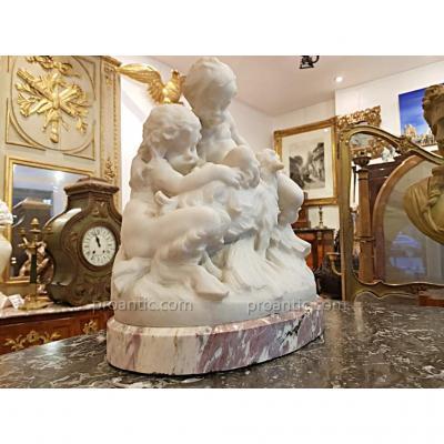 Sculpture en marbre signé Charles Perron vers 1900