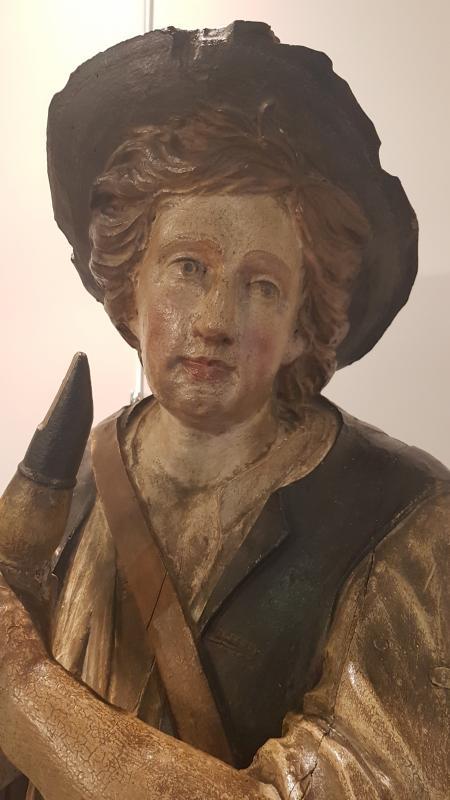 """Statue """"Le Joueur De Flûte"""" En Bois Sculpté  Polychrome XVIII ème-photo-3"""