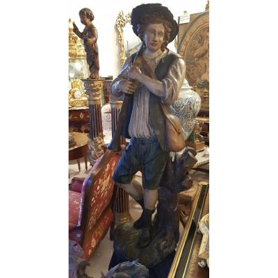 """Statue """"Le Joueur De Flûte"""" En Bois Sculpté  Polychrome XVIII ème"""