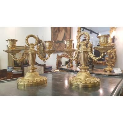 Paire De Petits Candélabres à Deux Bras De Lumière En Bronze Doré Début XIX ème